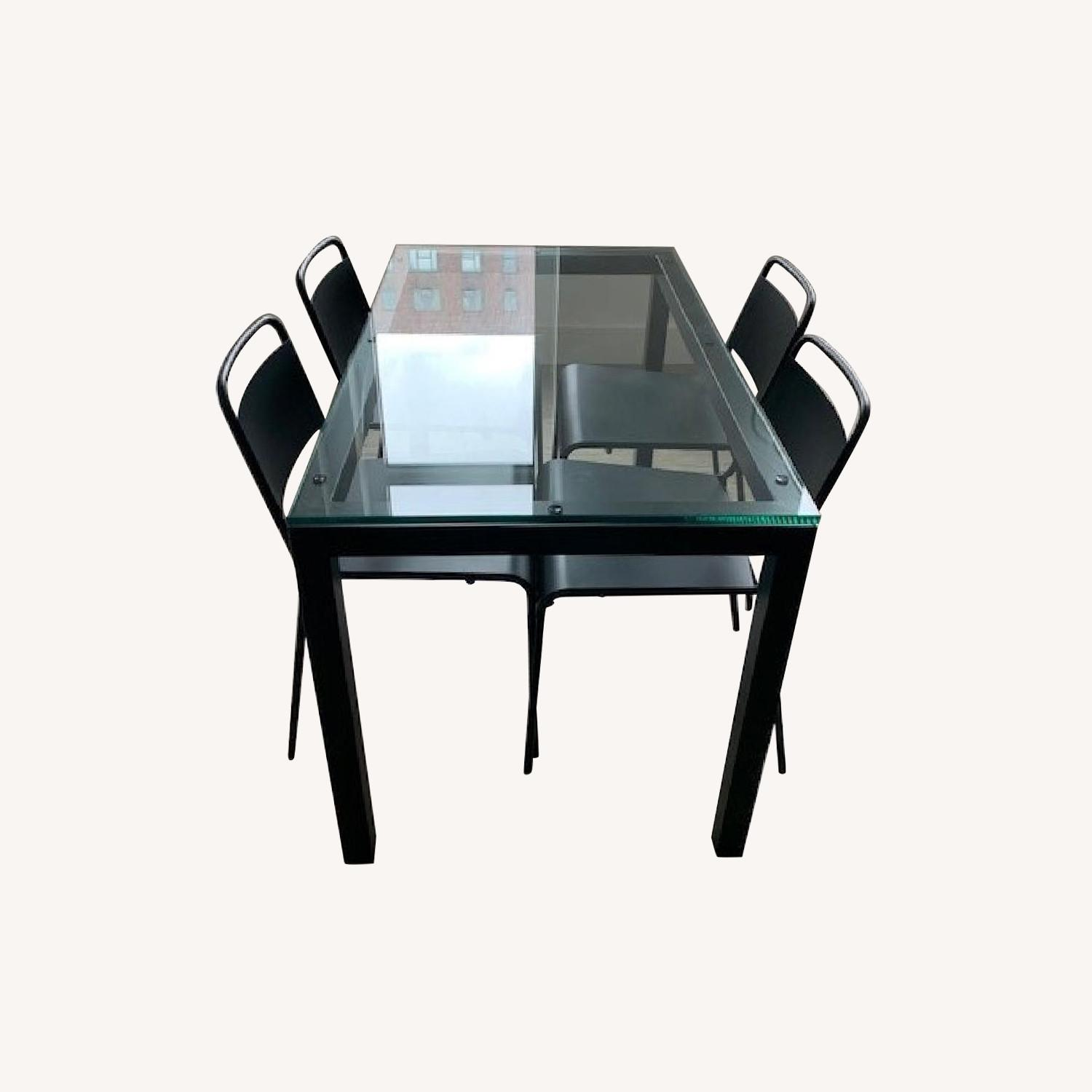 Crate & Barrel Glass Dining Table w/ 4 Chairs - image-0
