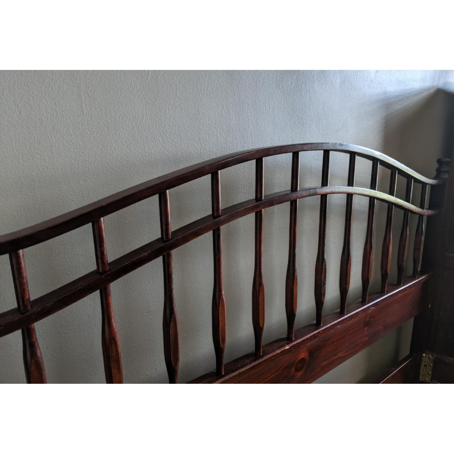 Vintage Wood Queen Size Bed Frame - image-1