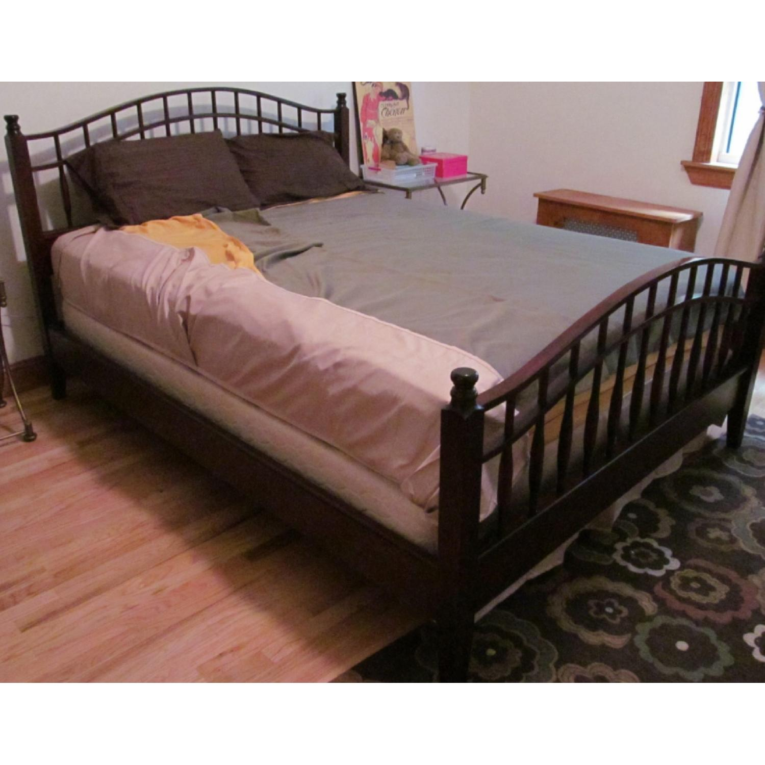 Vintage Wood Queen Size Bed Frame - image-5