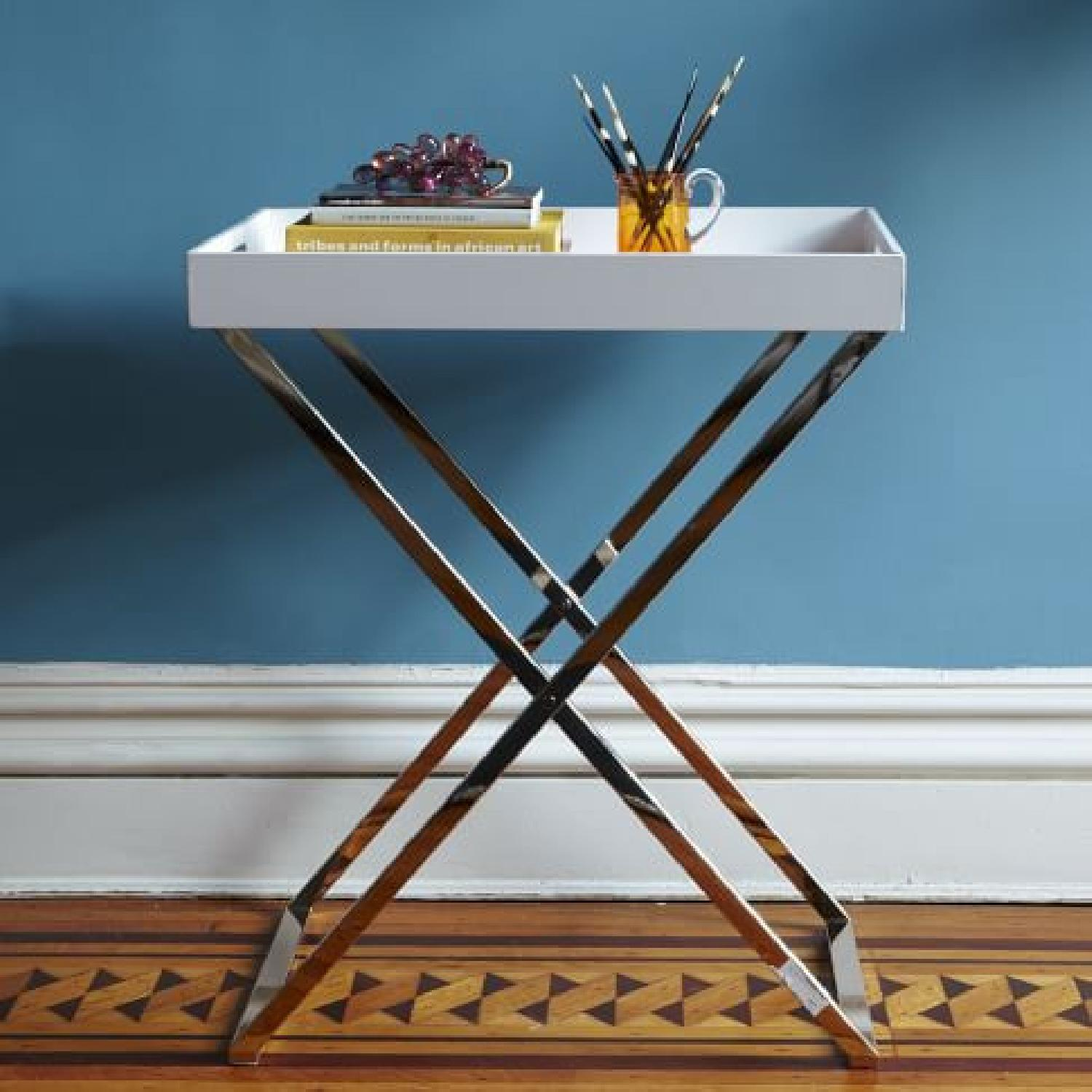 West Elm Lacquer Wood Tray w/ Tall Butler Tray Stand - image-4