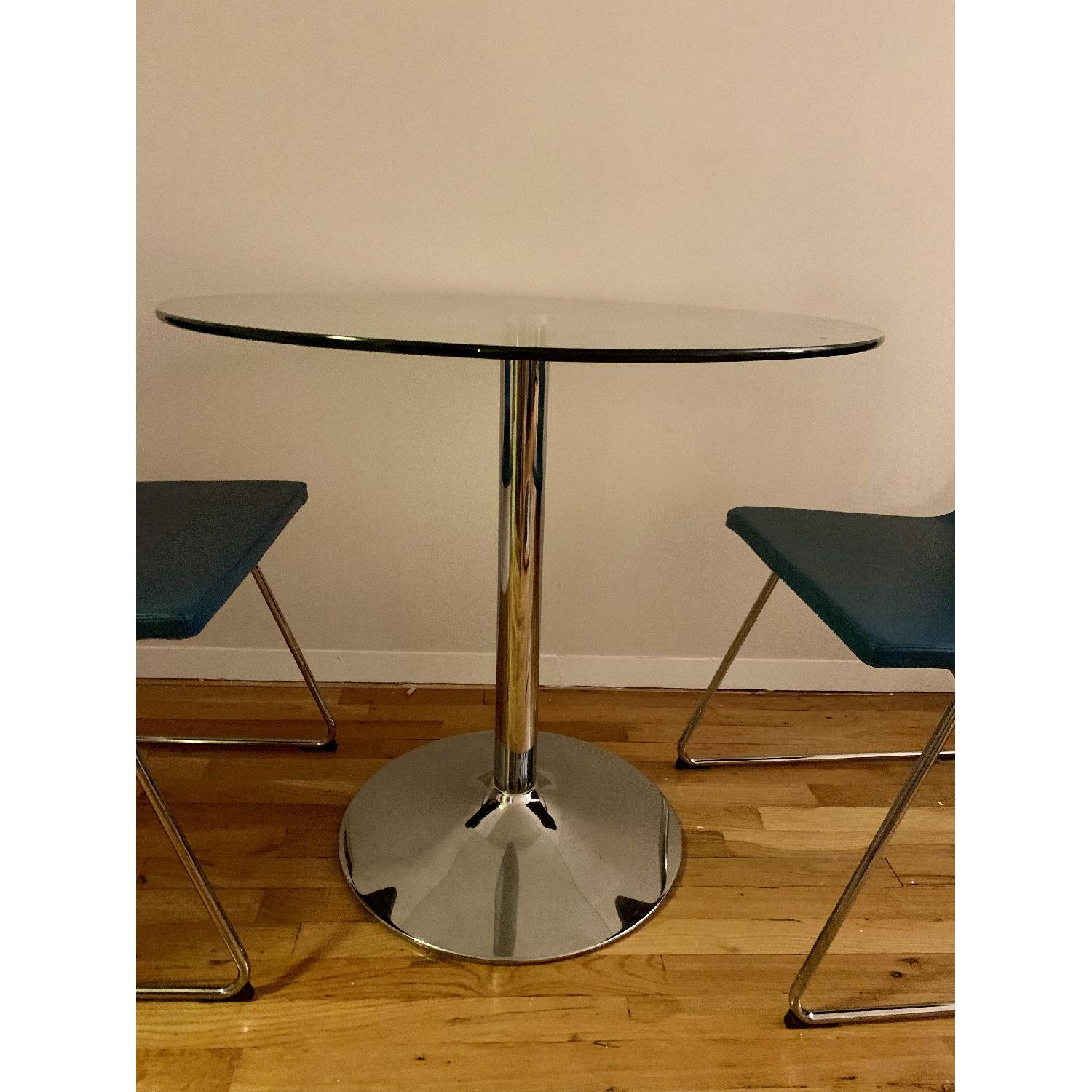 Round Glass Dining Table w/ 2 Ikea Chairs - image-1