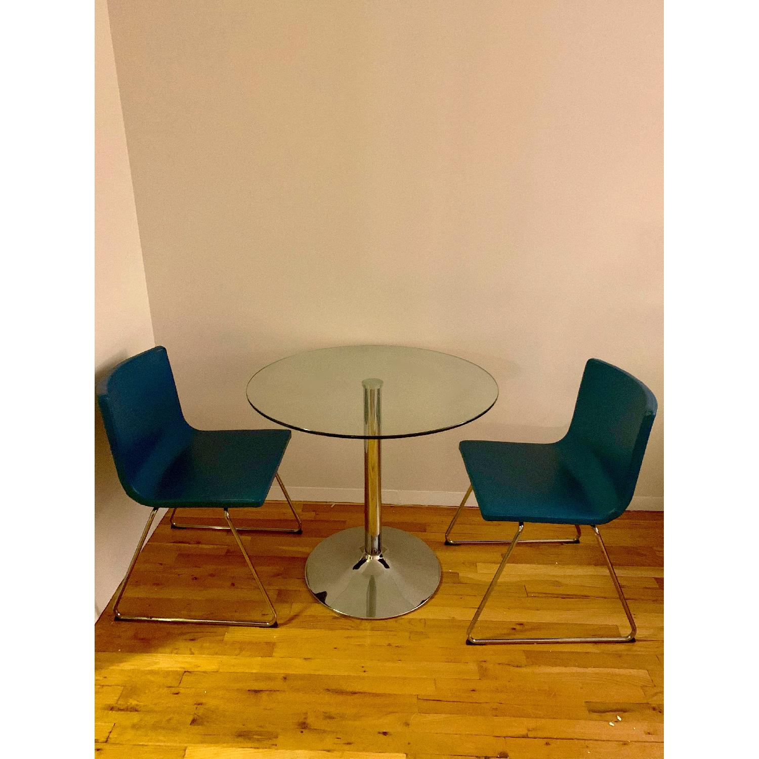 Round Glass Dining Table w/ 2 Ikea Chairs - image-2