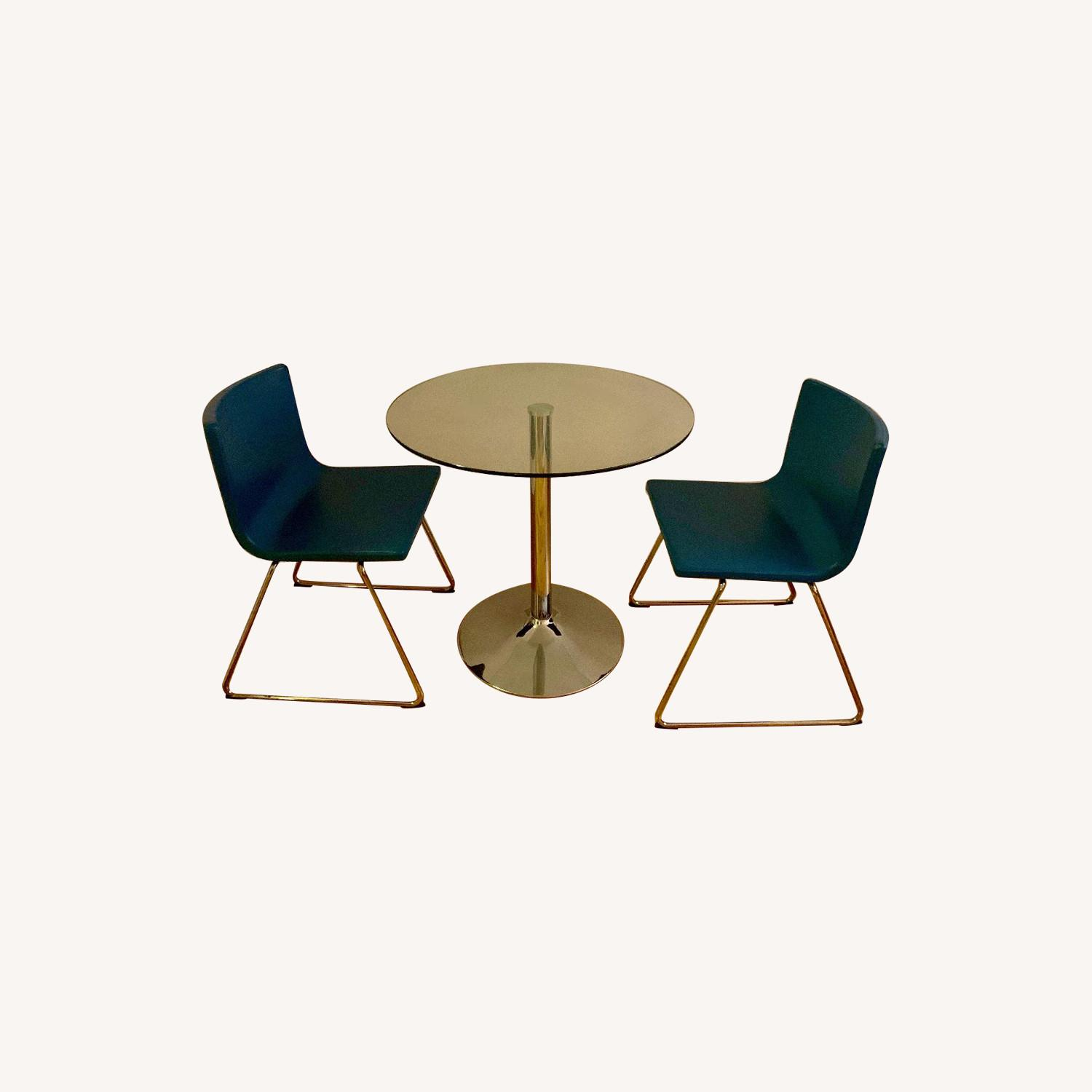 Round Glass Dining Table w/ 2 Ikea Chairs - image-0