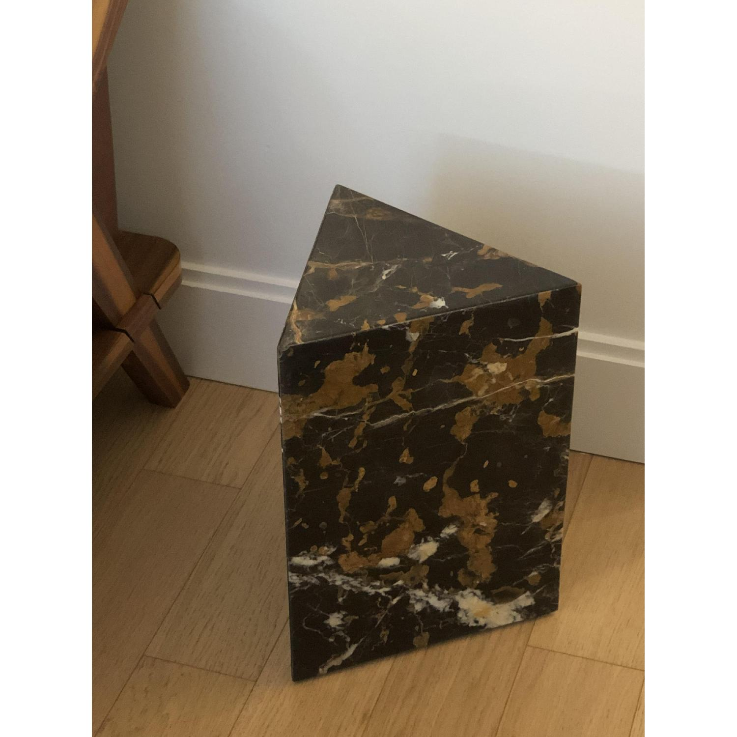 CB2 Tri Brown Marble Side Table - image-1