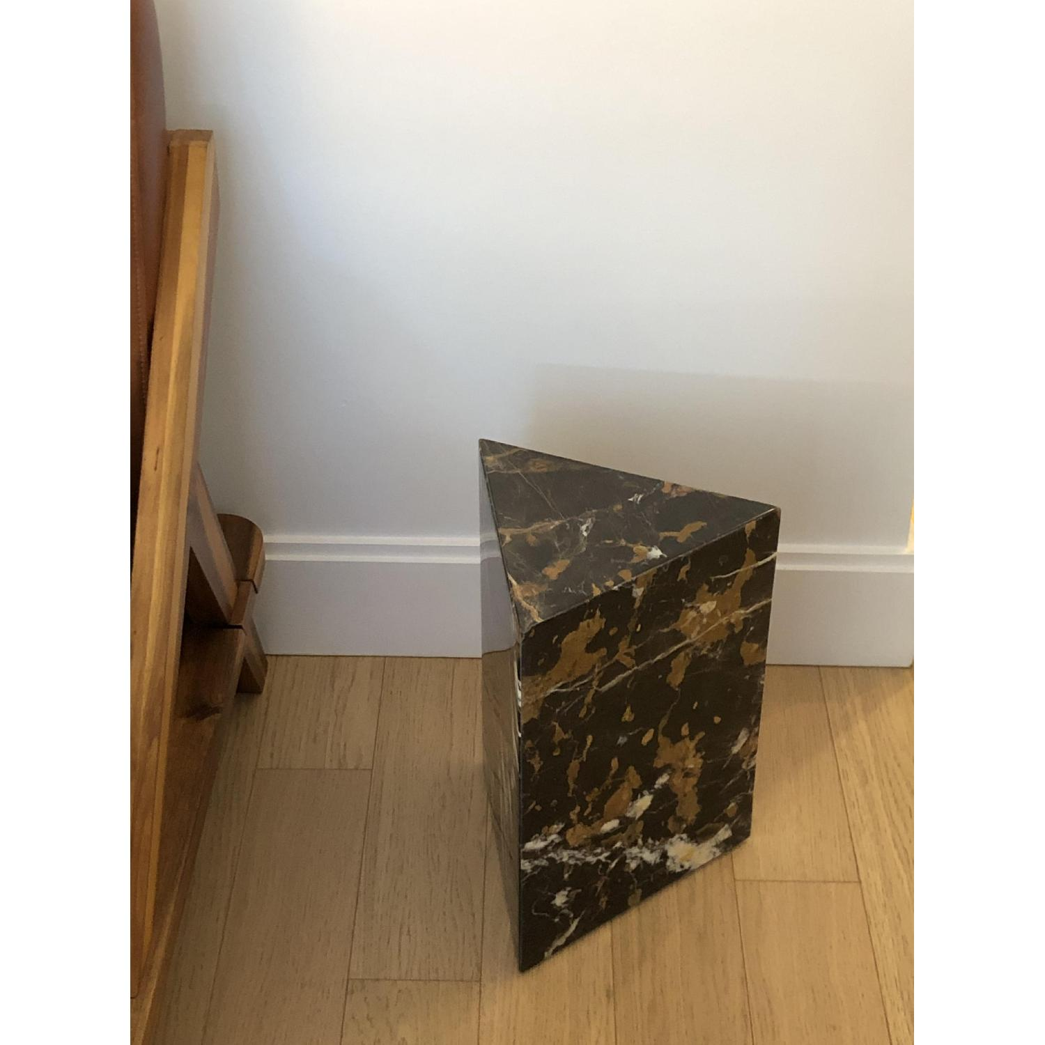 CB2 Tri Brown Marble Side Table - image-2