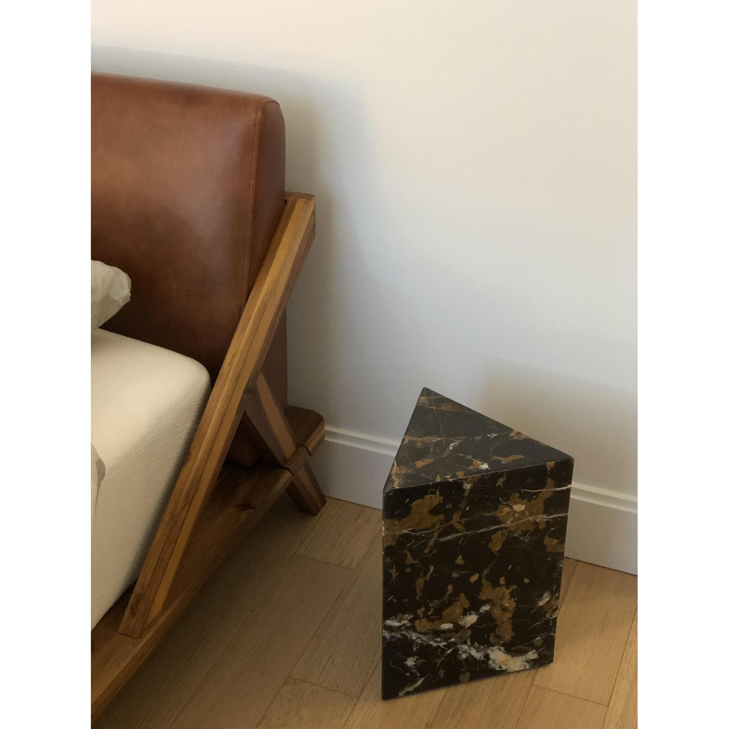 CB2 Tri Brown Marble Side Table - image-3