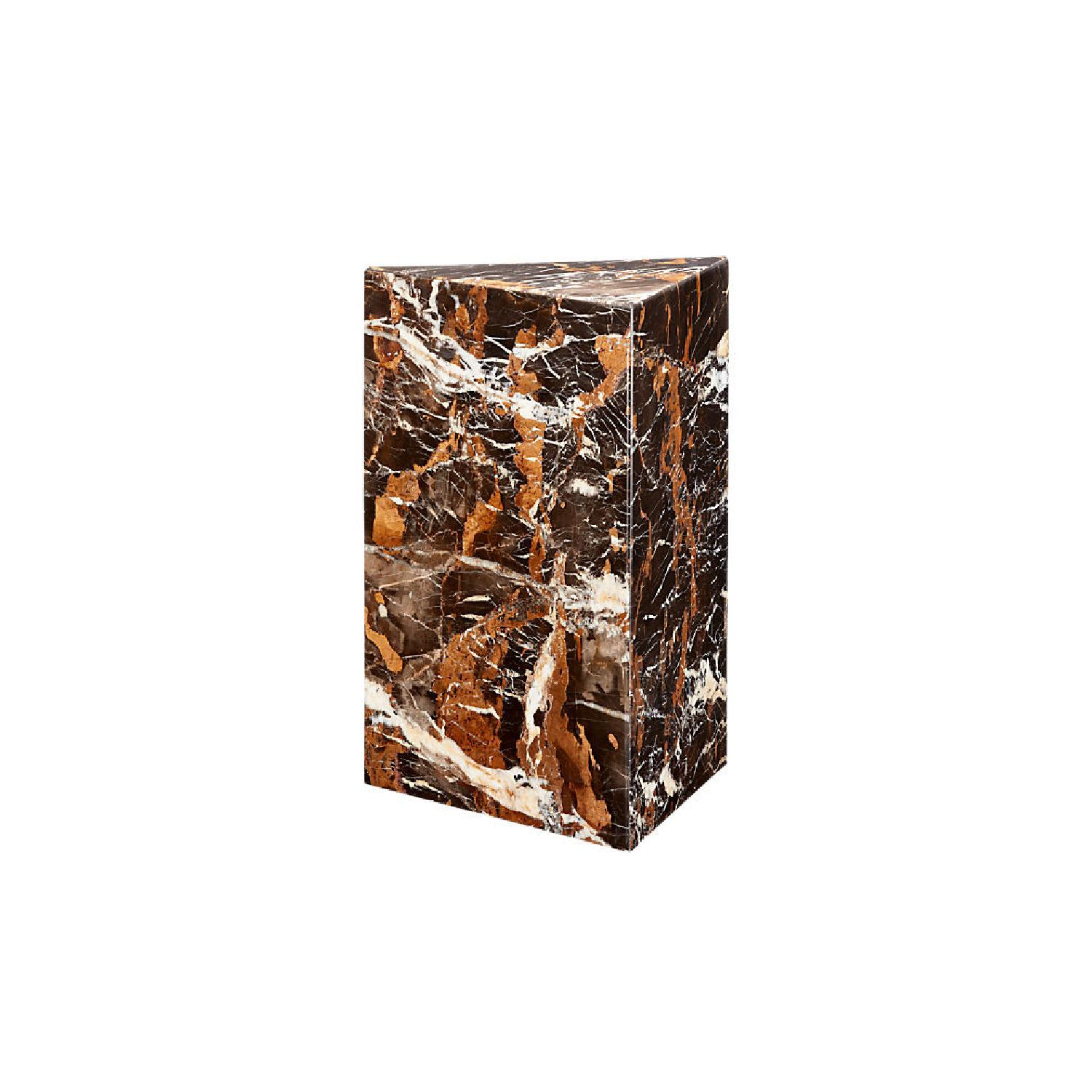 CB2 Tri Brown Marble Side Table - image-0