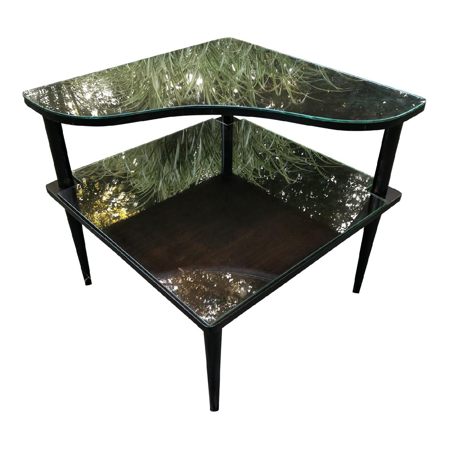 Mid Century Double Tier Side Corner Table - image-0