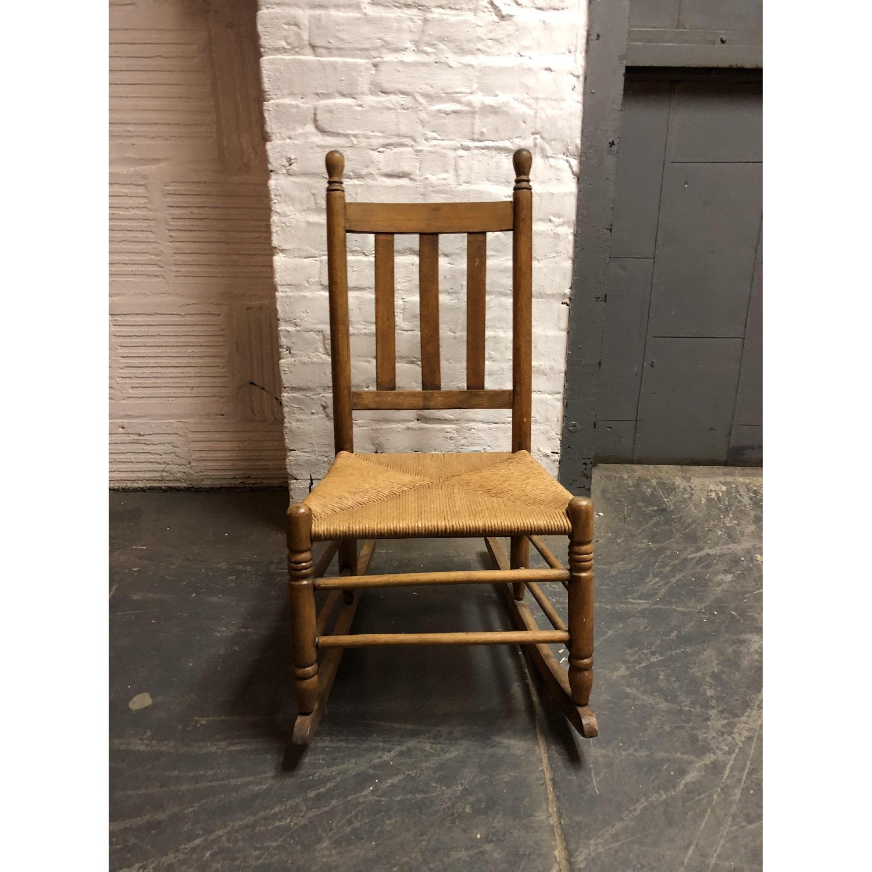 Vintage American Wood & Rattan Rocking Chair - image-1