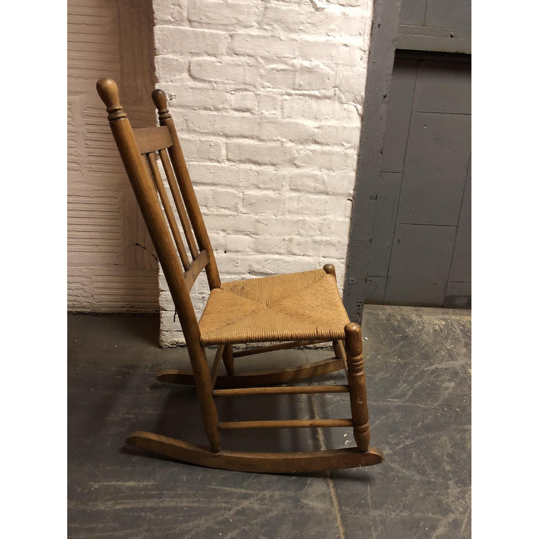 Vintage American Wood & Rattan Rocking Chair - image-2