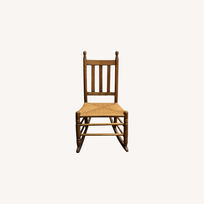 Vintage American Wood & Rattan Rocking Chair - image-0
