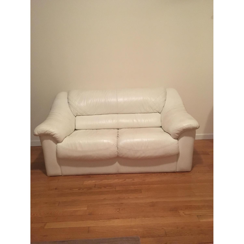 White Leather Loveseat - image-3