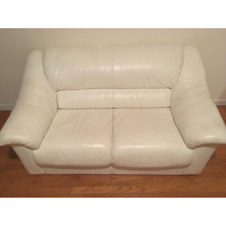 White Leather Loveseat - image-1