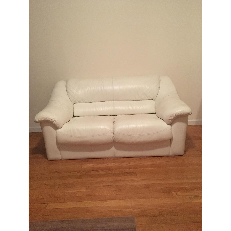 White Leather Loveseat - image-2