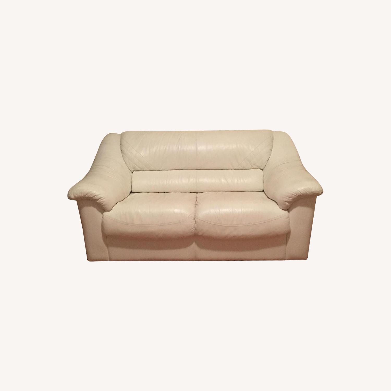 White Leather Loveseat - image-0