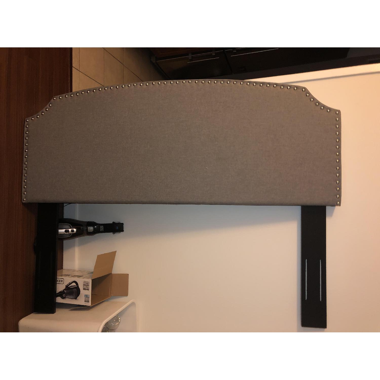 Charlton Home Grey Upholstered Headboard - image-2