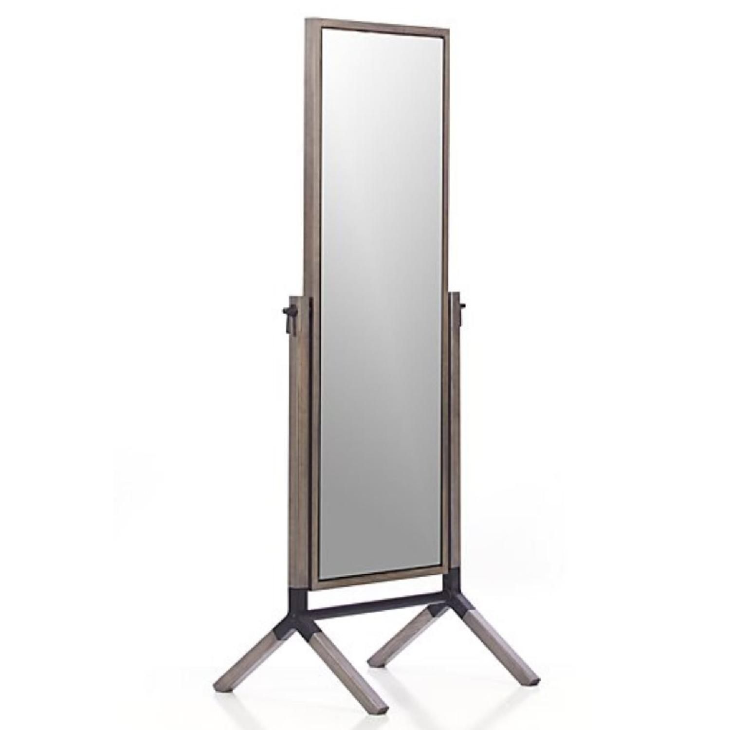 Crate & Barrel Malvern Grey Cheval Floor Mirror - image-0