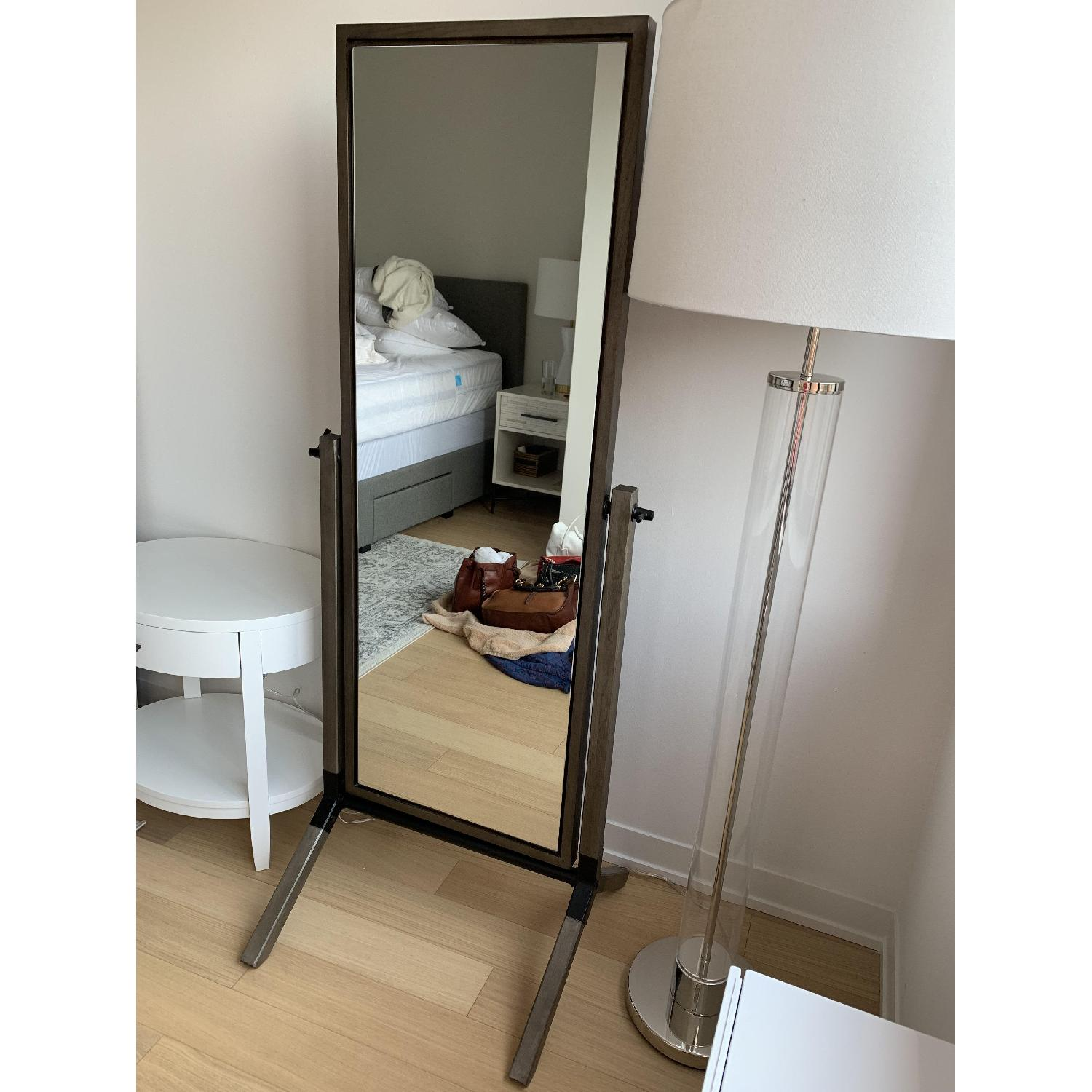 Crate & Barrel Malvern Grey Cheval Floor Mirror - image-1