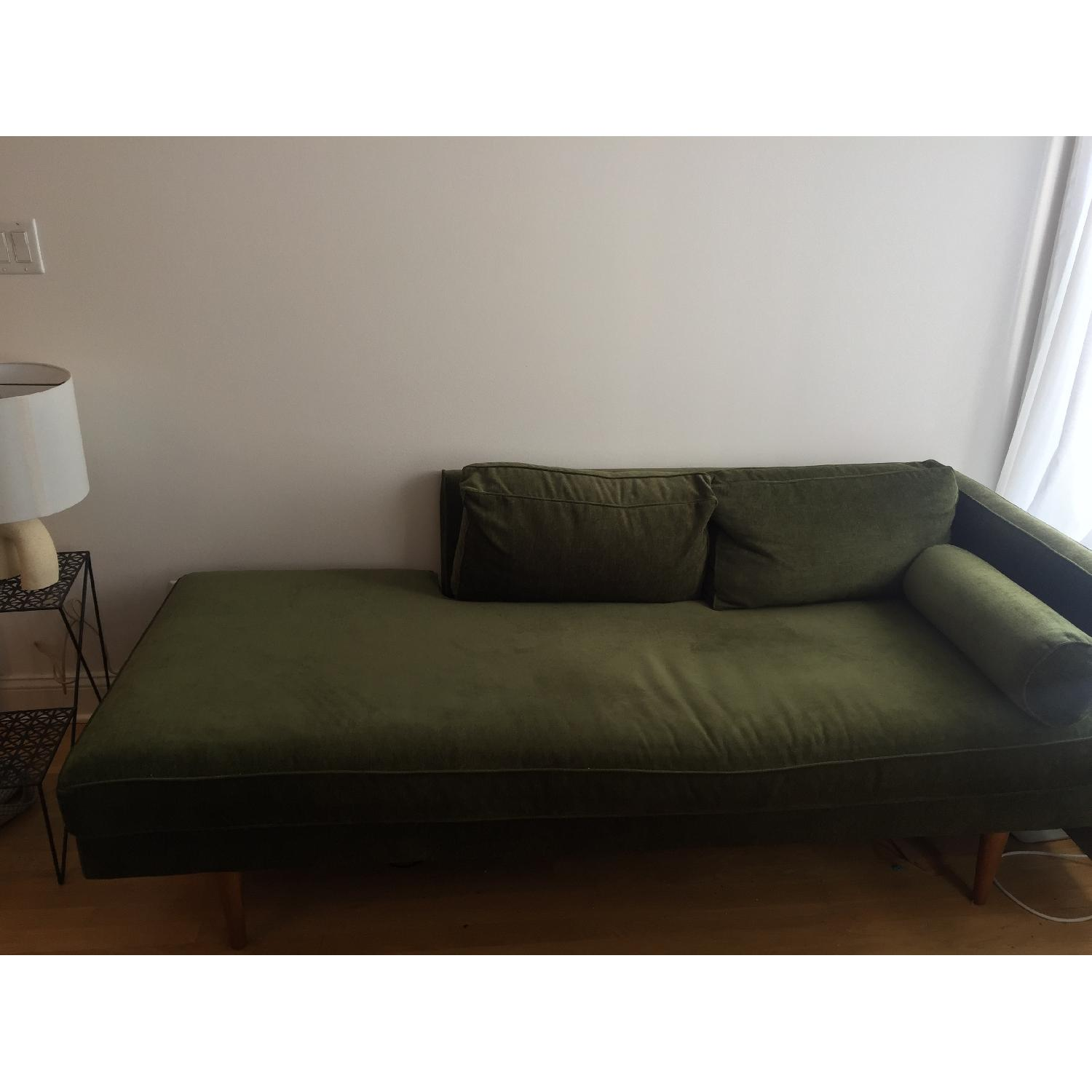 West Elm Mid Century Chaise in Olive Green - image-1