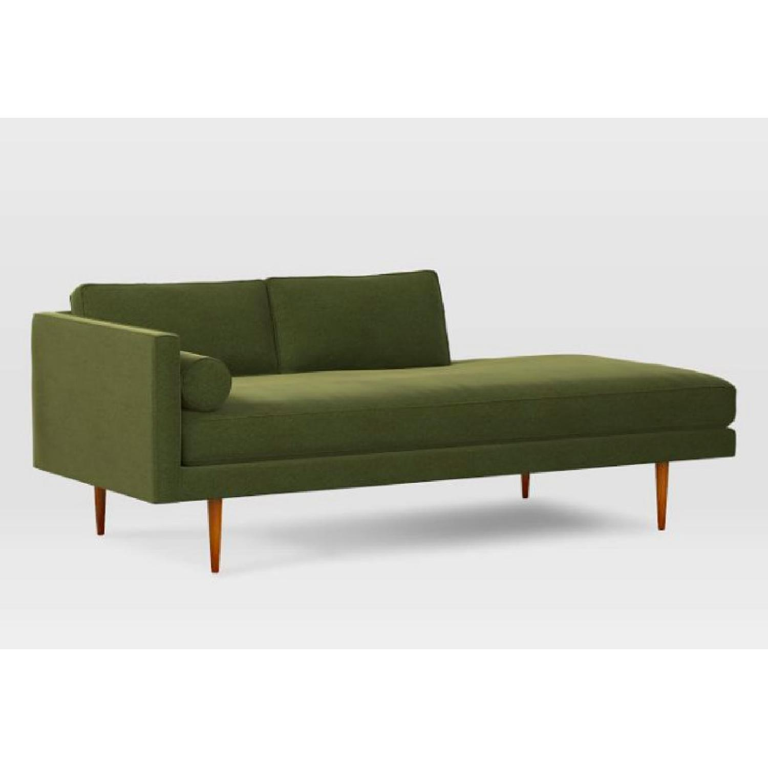 West Elm Mid Century Chaise in Olive Green - image-2