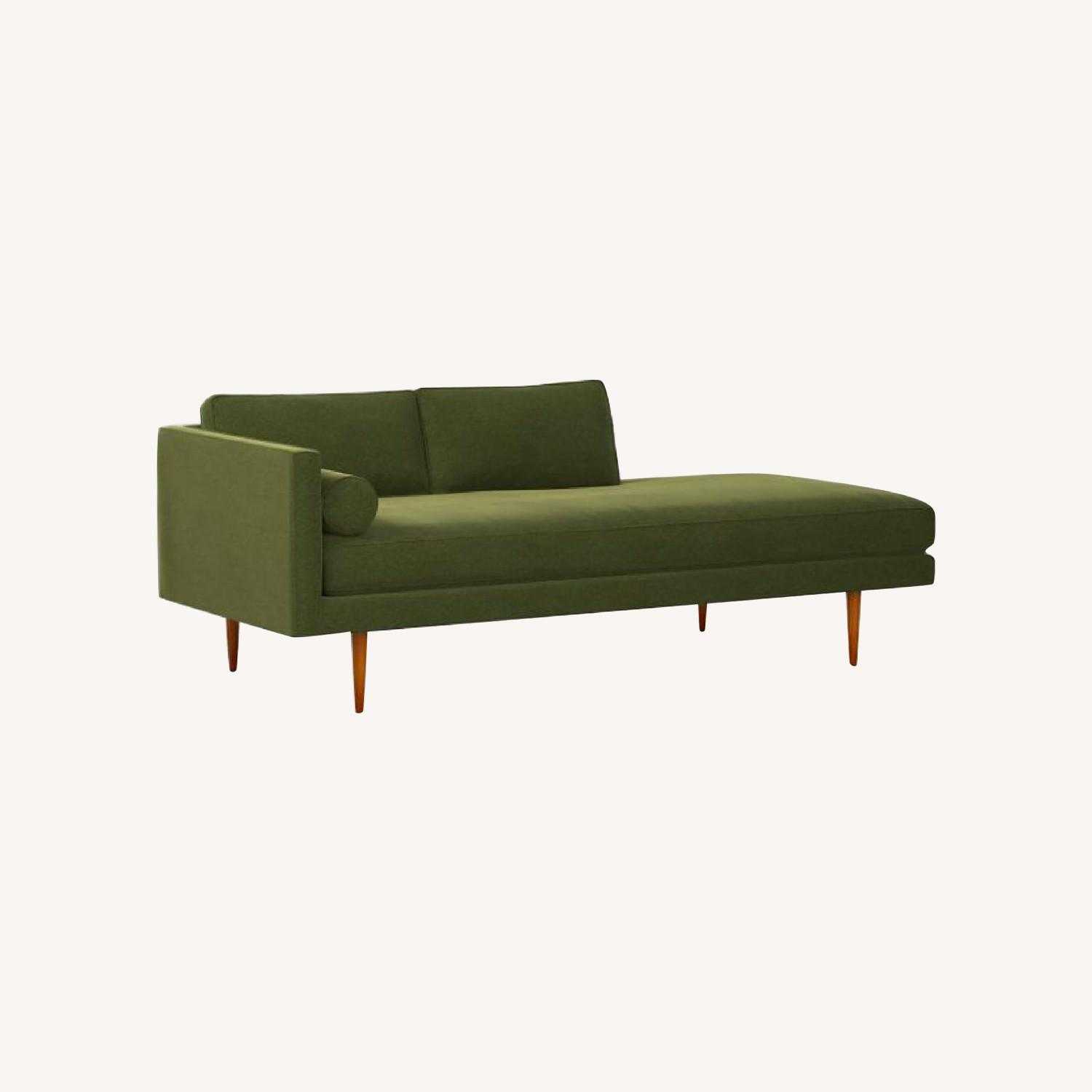 West Elm Mid Century Chaise in Olive Green - image-0
