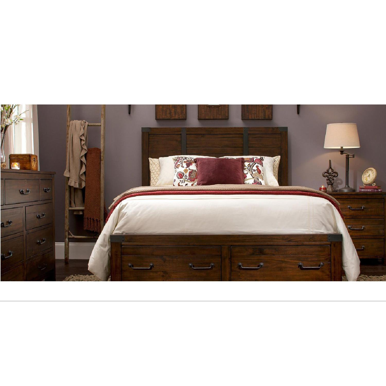 Raymour & Flanigan Shelton Queen Storage Bed in Rustic Pine - image-0