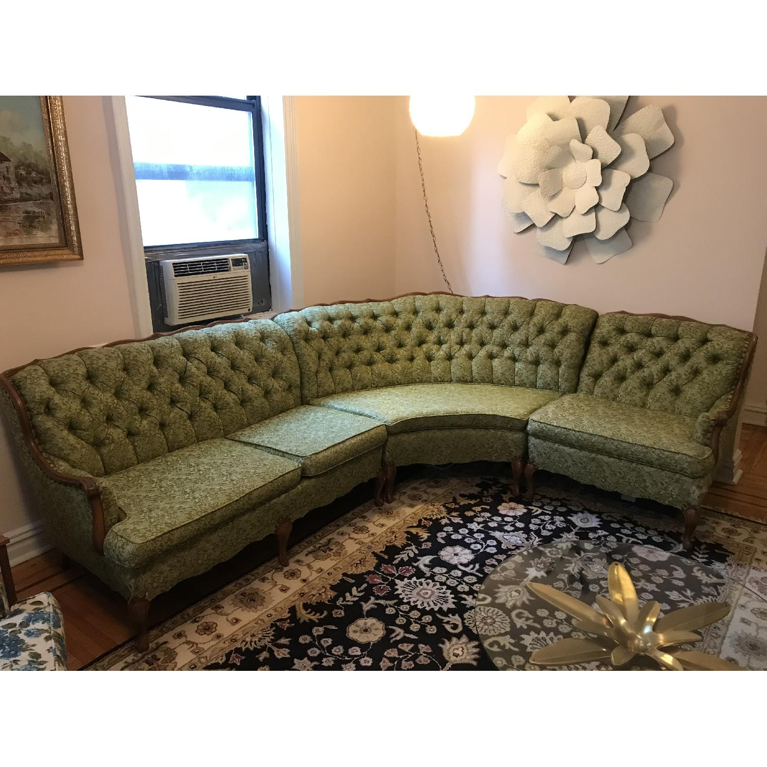 Vintage 1970s French Provincial Tufted Curved Sectional Sofa - image-1