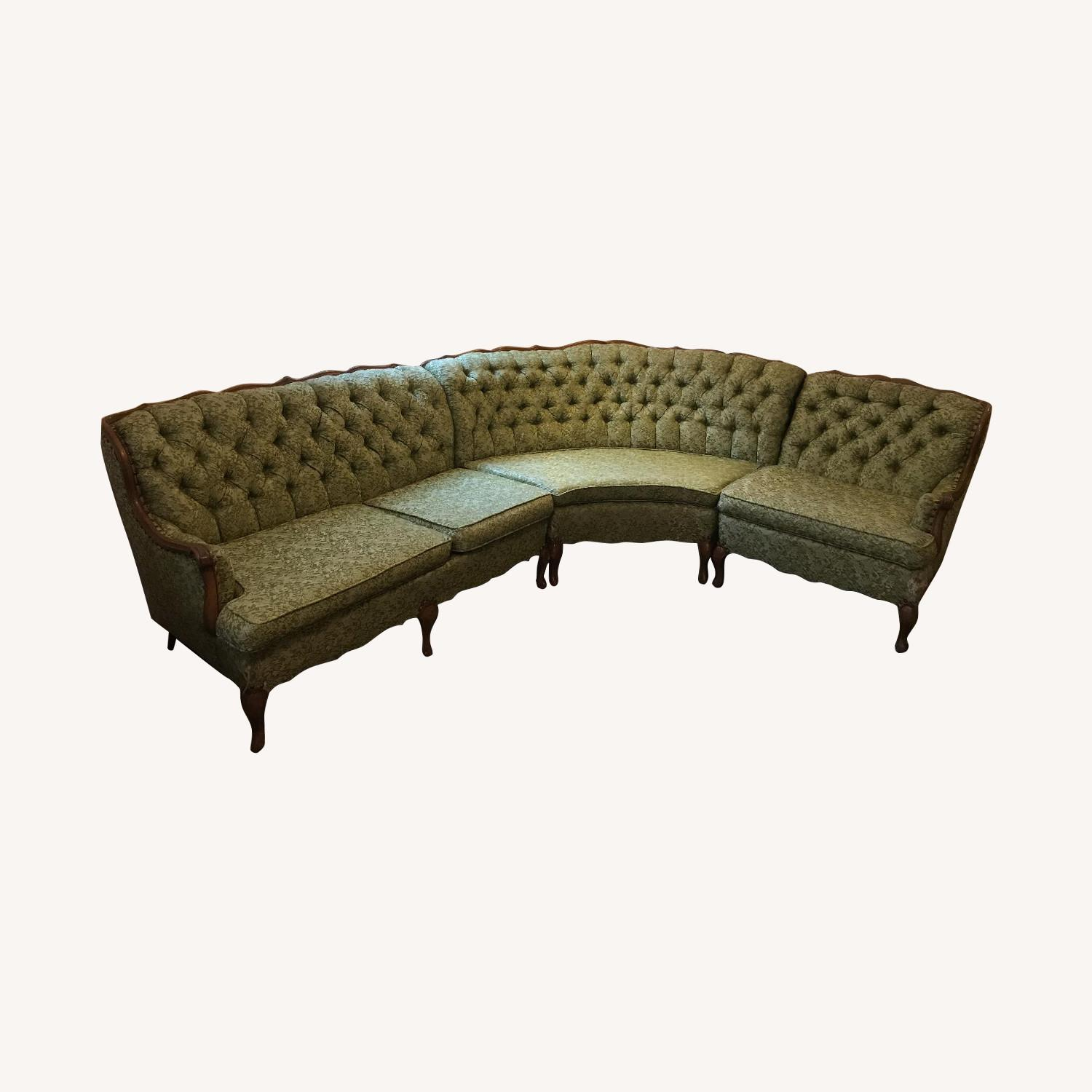 Vintage 1970s French Provincial Tufted Curved Sectional Sofa - image-0