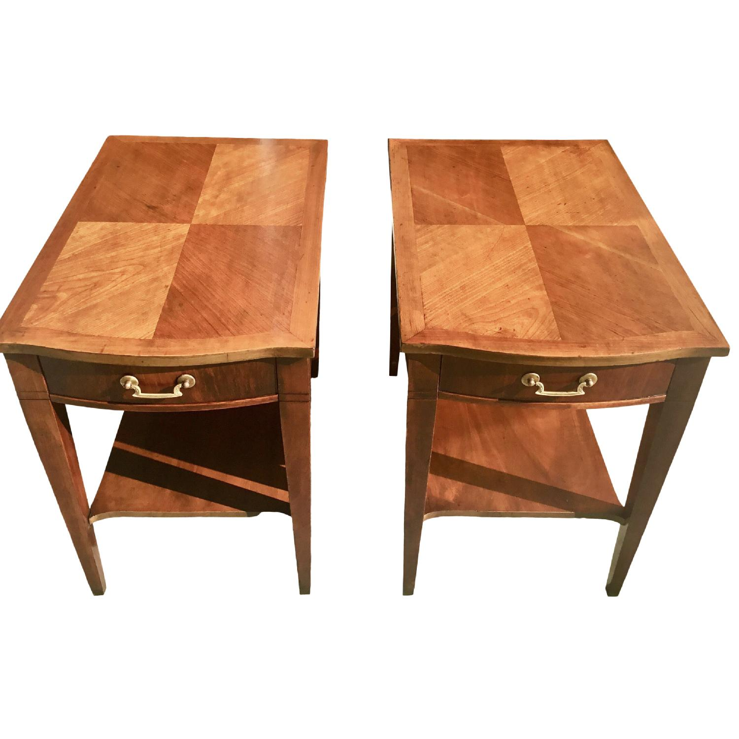 Midmod White Furniture Co. Parquet Top Walnut Side Tables - image-0
