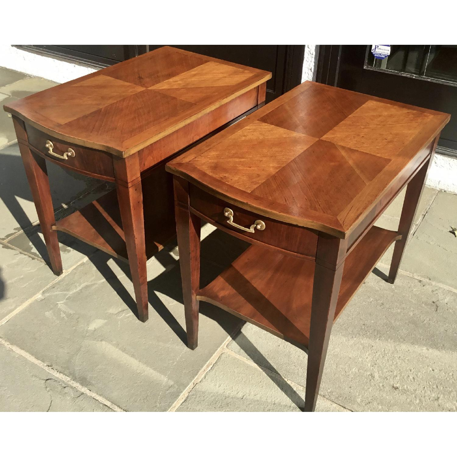 Midmod White Furniture Co. Parquet Top Walnut Side Tables - image-1