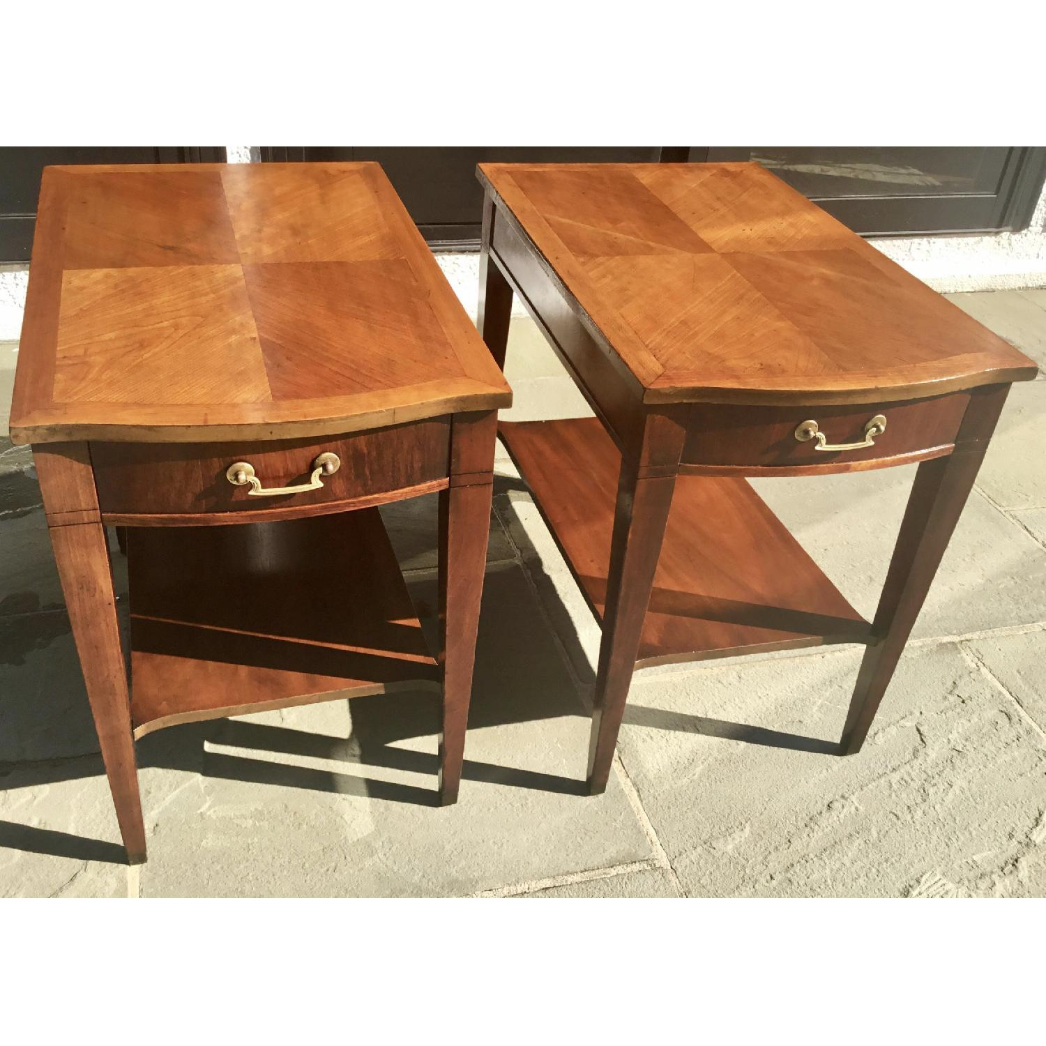Midmod White Furniture Co. Parquet Top Walnut Side Tables - image-2