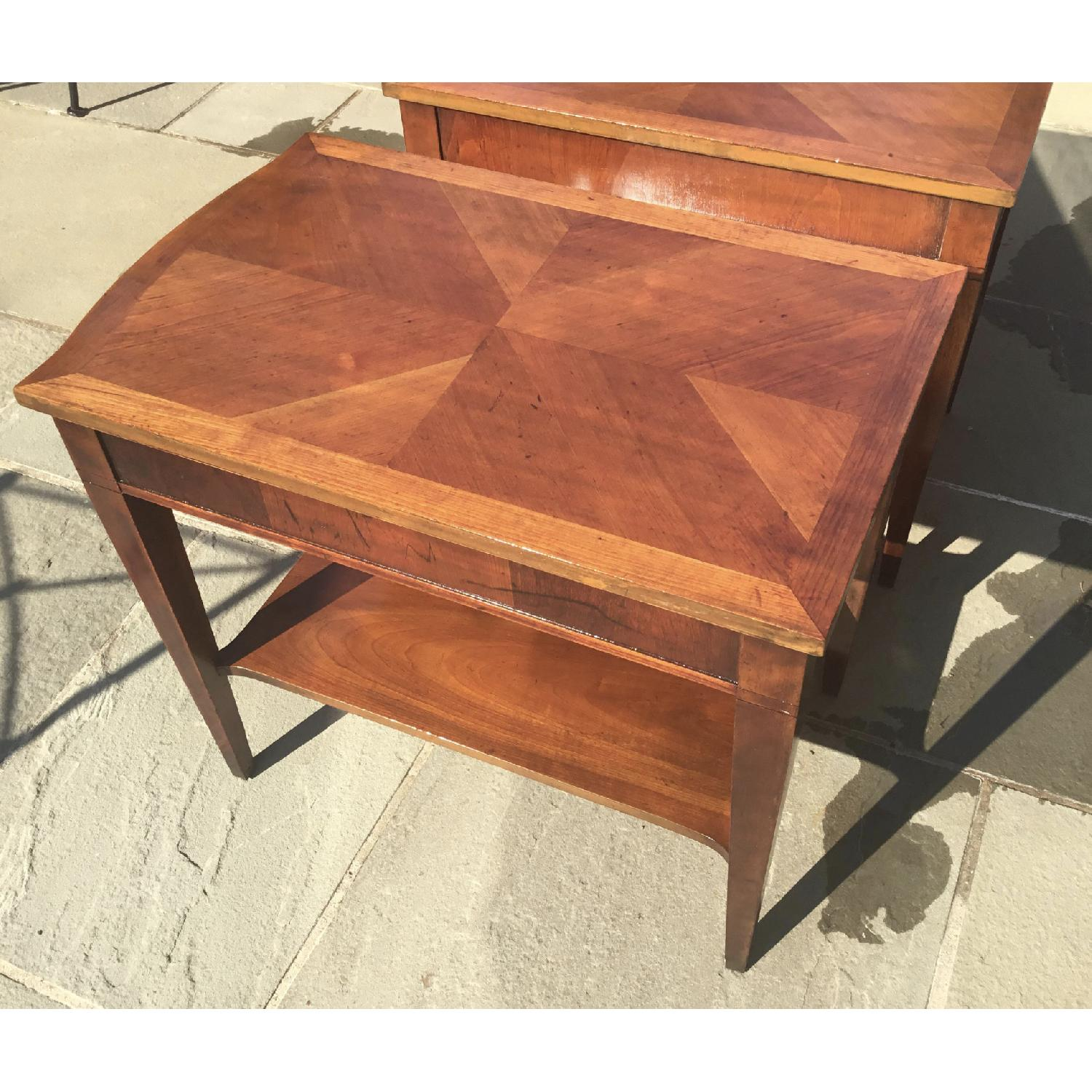 Midmod White Furniture Co. Parquet Top Walnut Side Tables - image-3