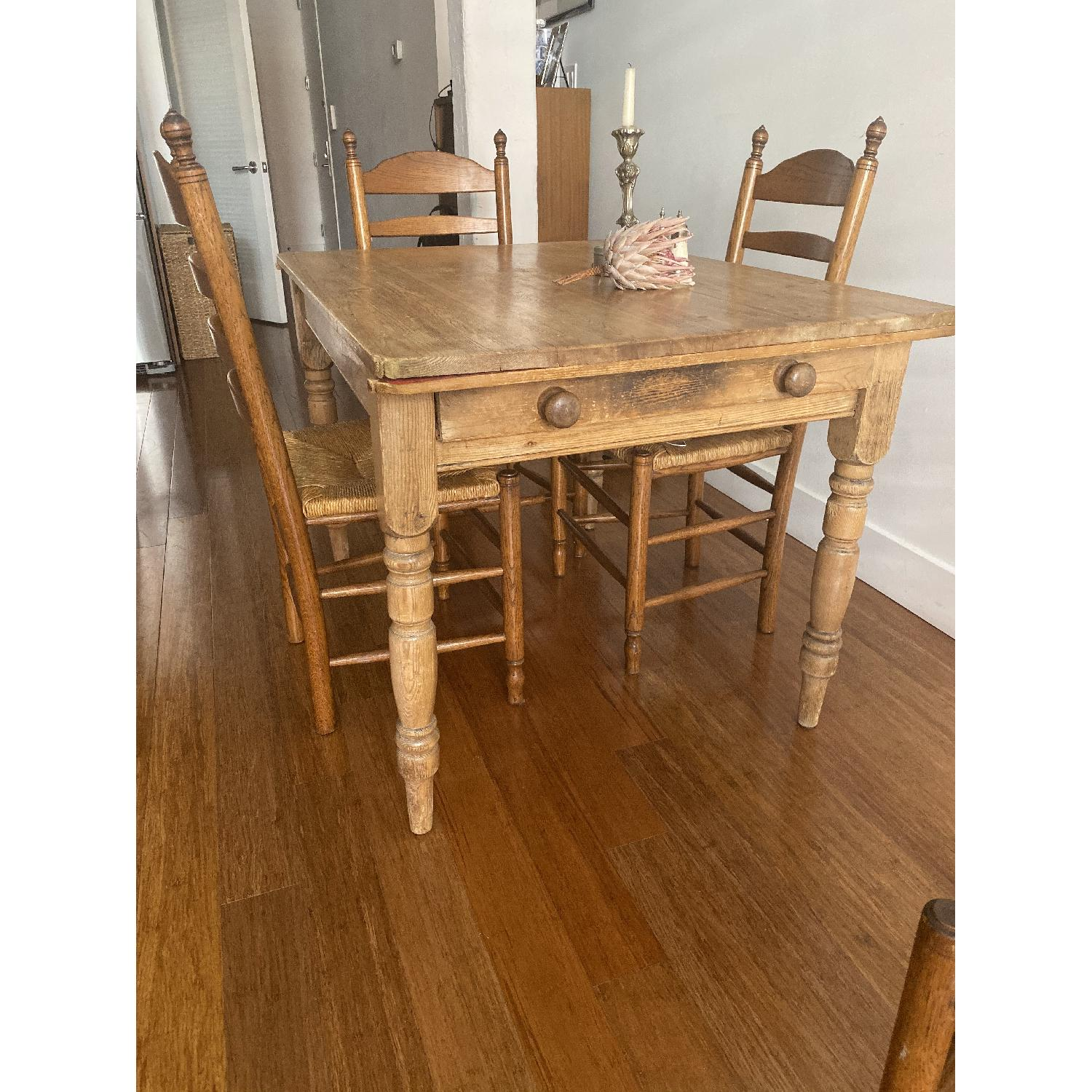 Antique Oak Wooden Dining Table w/ 4 Chairs - image-1