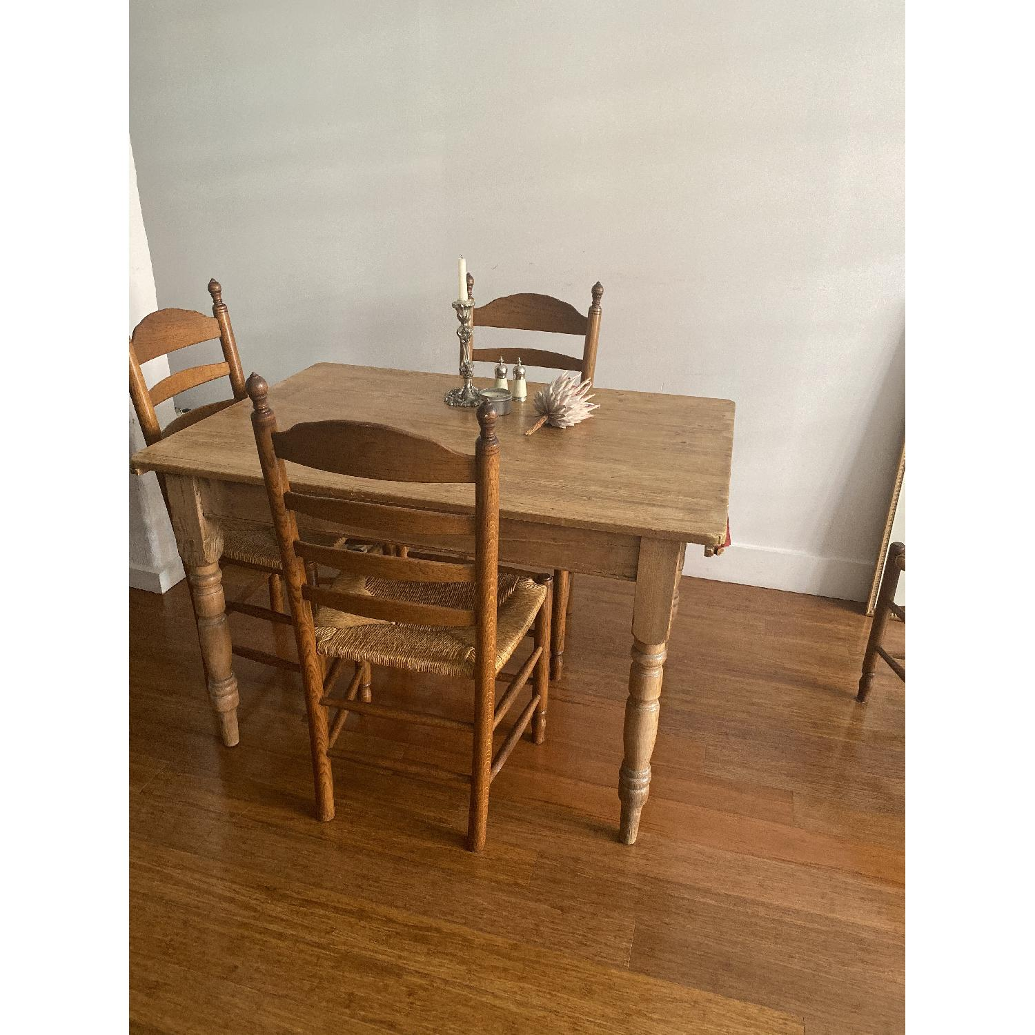 Antique Oak Wooden Dining Table w/ 4 Chairs - image-2