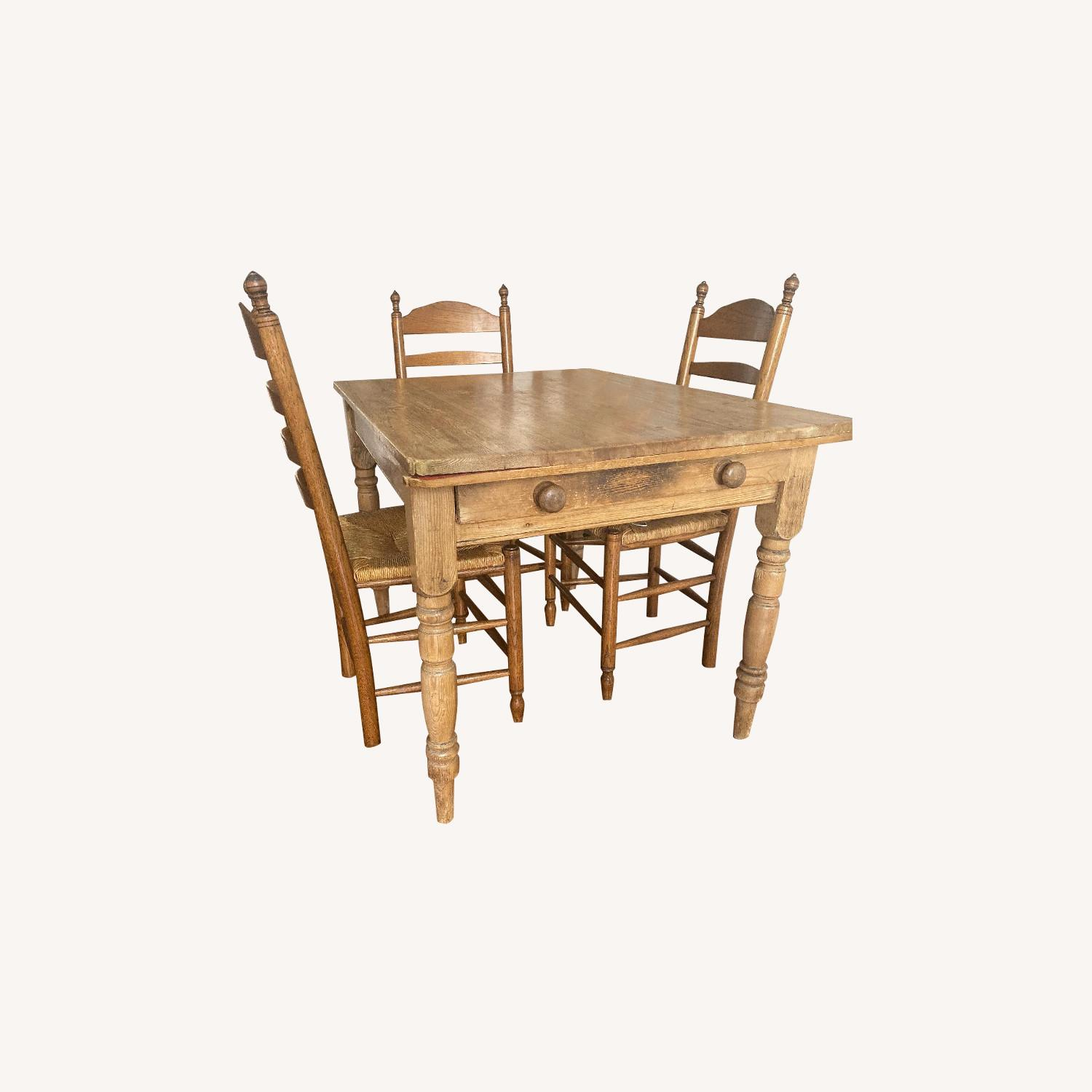 Antique Oak Wooden Dining Table w/ 4 Chairs - image-0