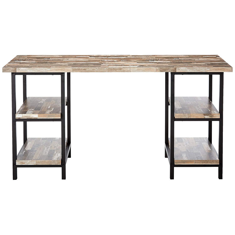 Salvaged Cabin Desk w/ 4 Open Shelves & Black Metal - image-0