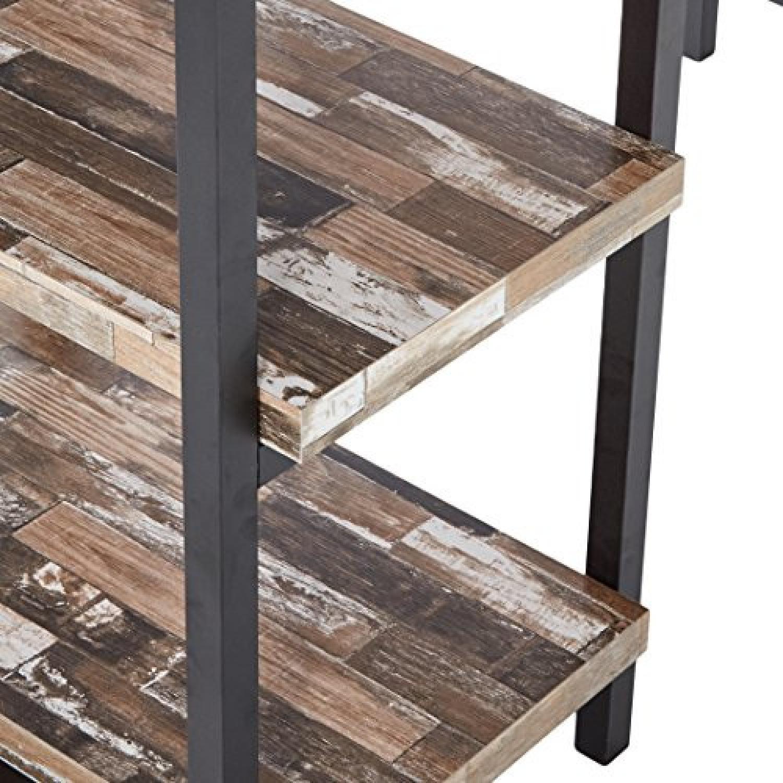 Salvaged Cabin Desk w/ 4 Open Shelves & Black Metal - image-3