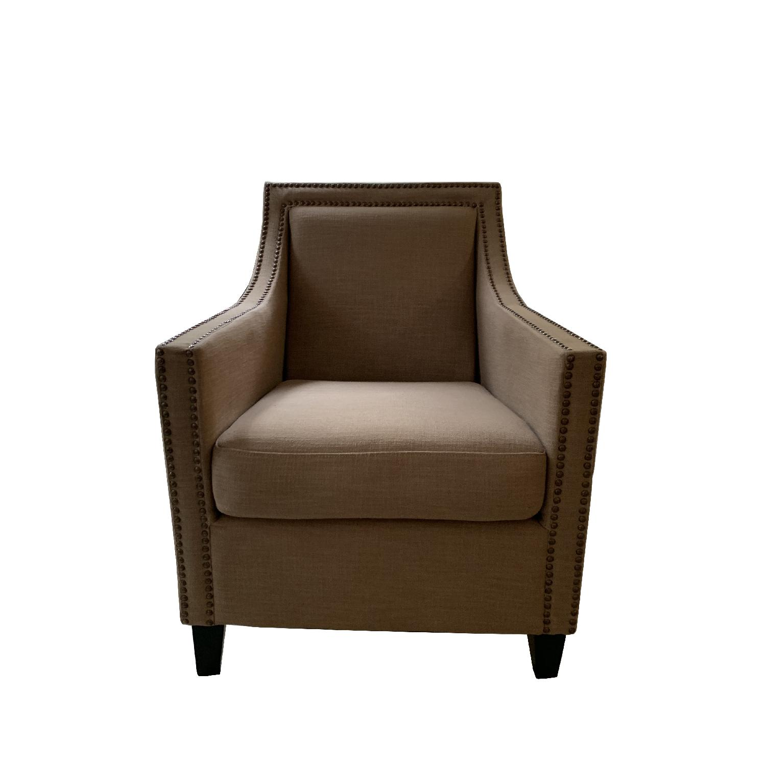 Taupe Armchairs w/ Nailheads - image-0