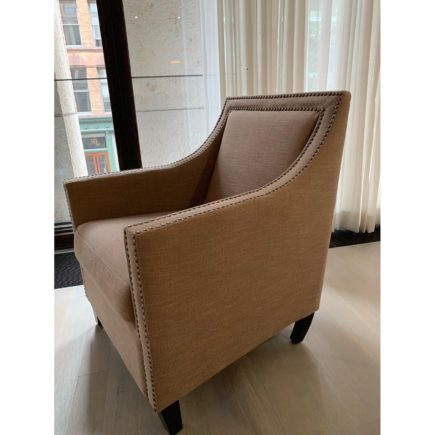 Taupe Armchairs w/ Nailheads - image-1