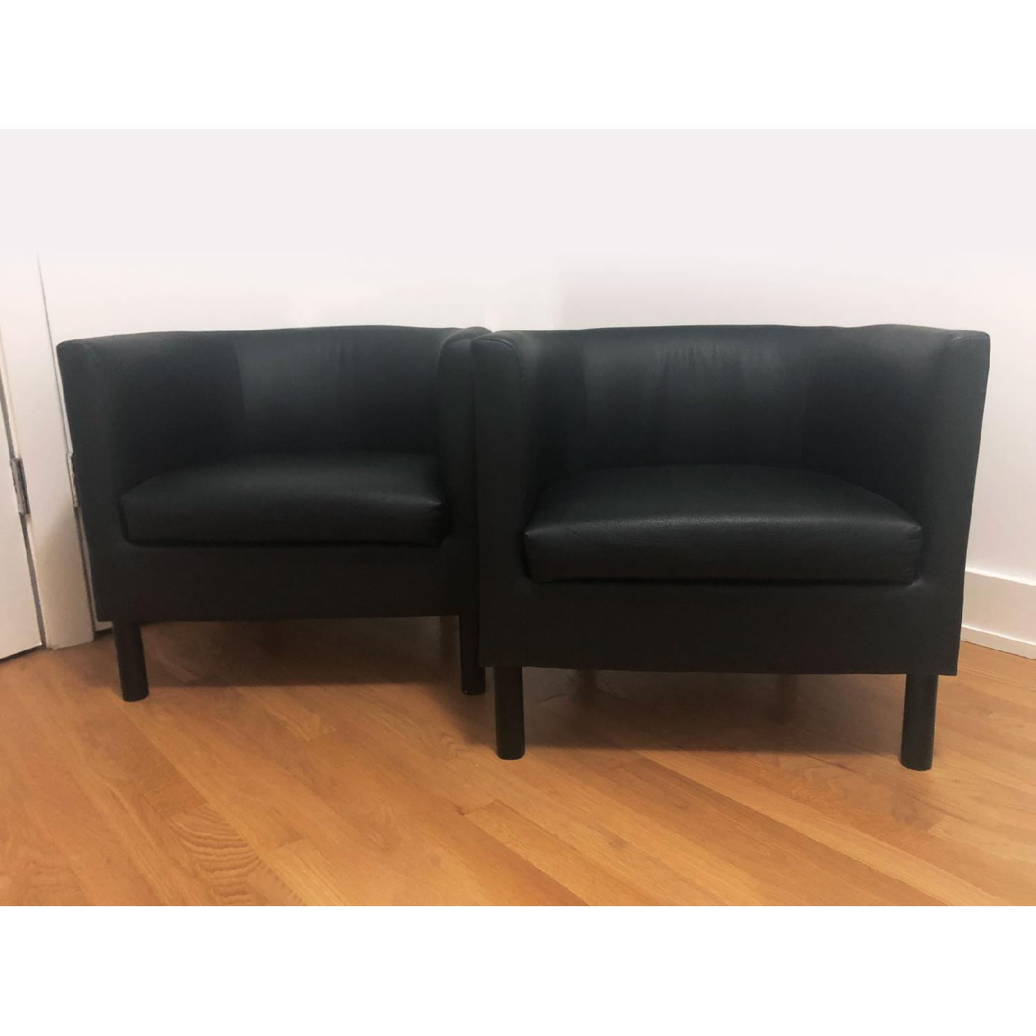 Ikea Black Faux Leather Armchairs - image-0