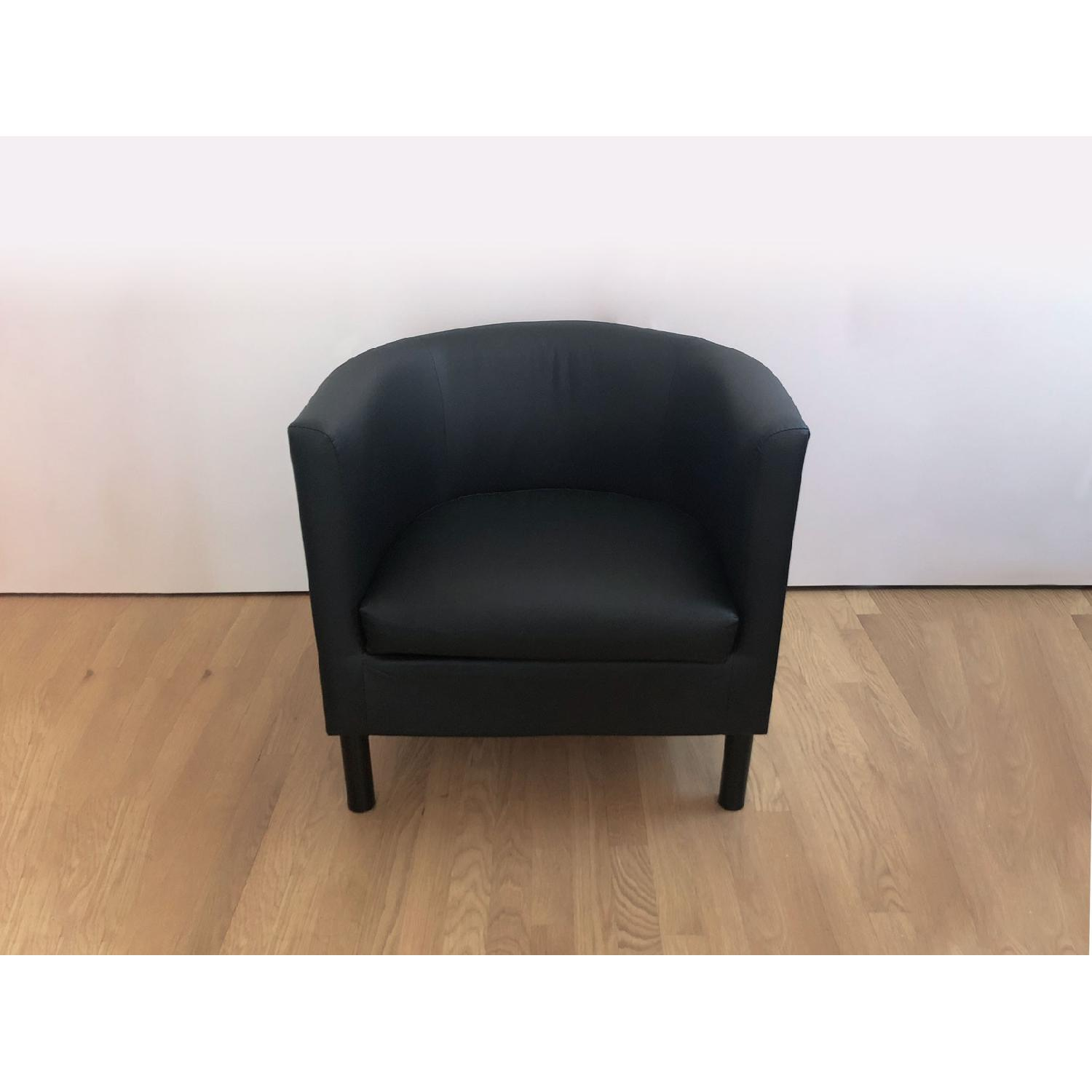Ikea Black Faux Leather Armchairs - image-1