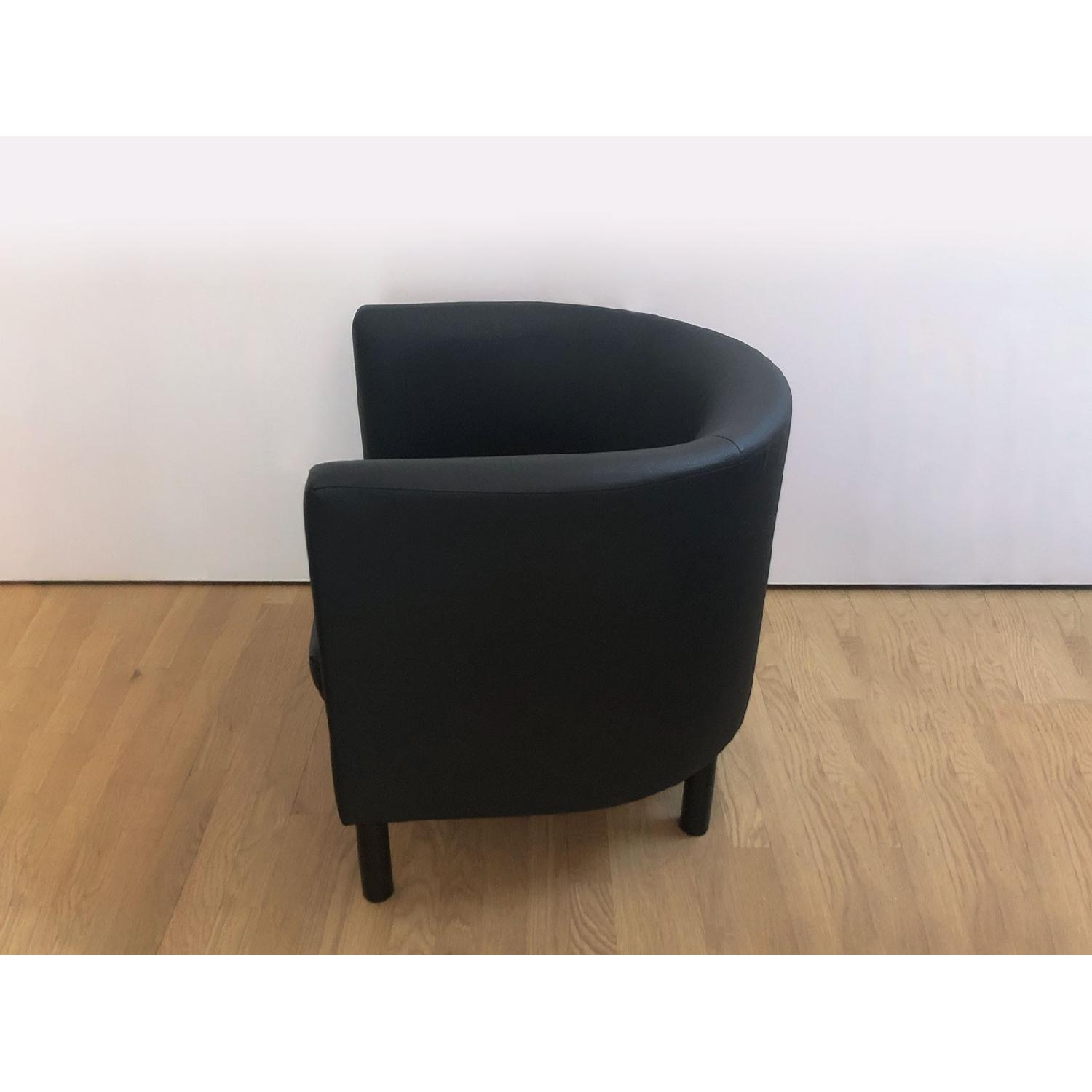 Ikea Black Faux Leather Armchairs - image-2