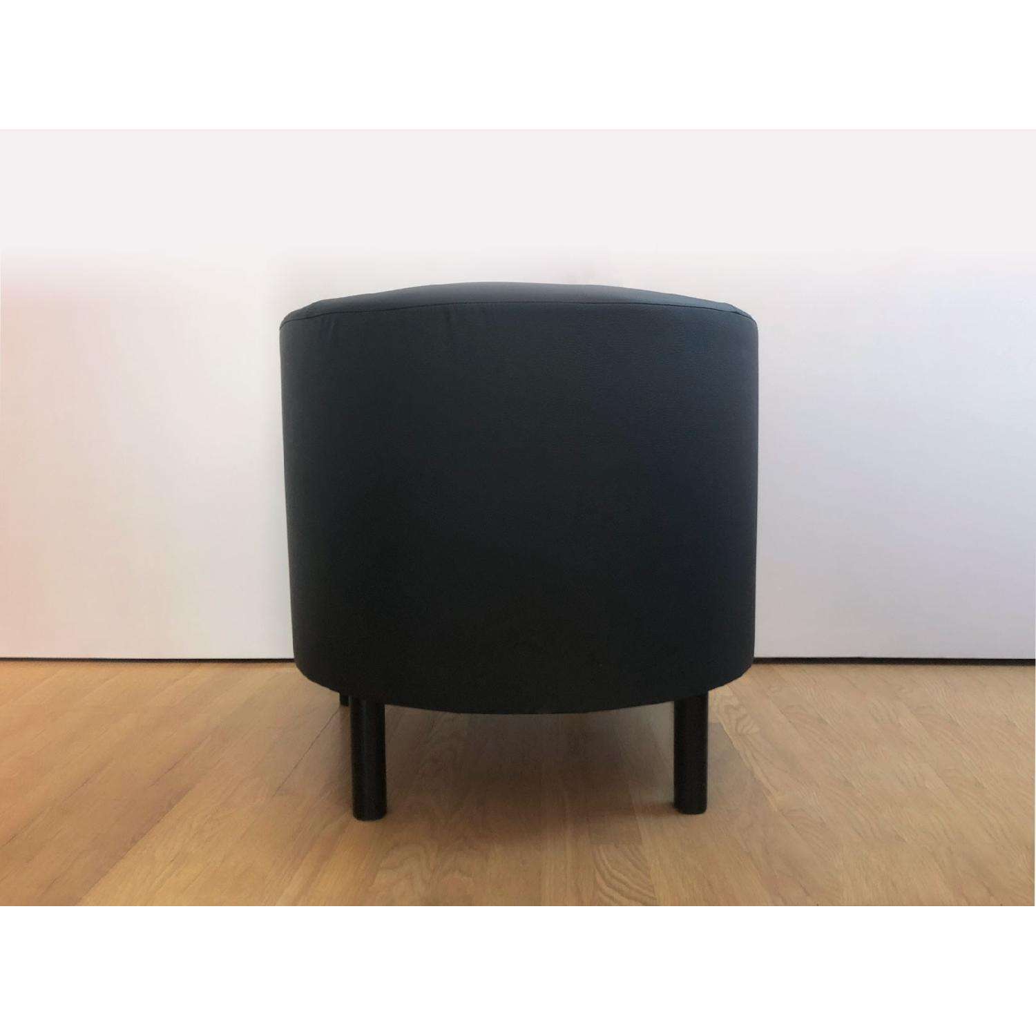 Ikea Black Faux Leather Armchairs - image-3