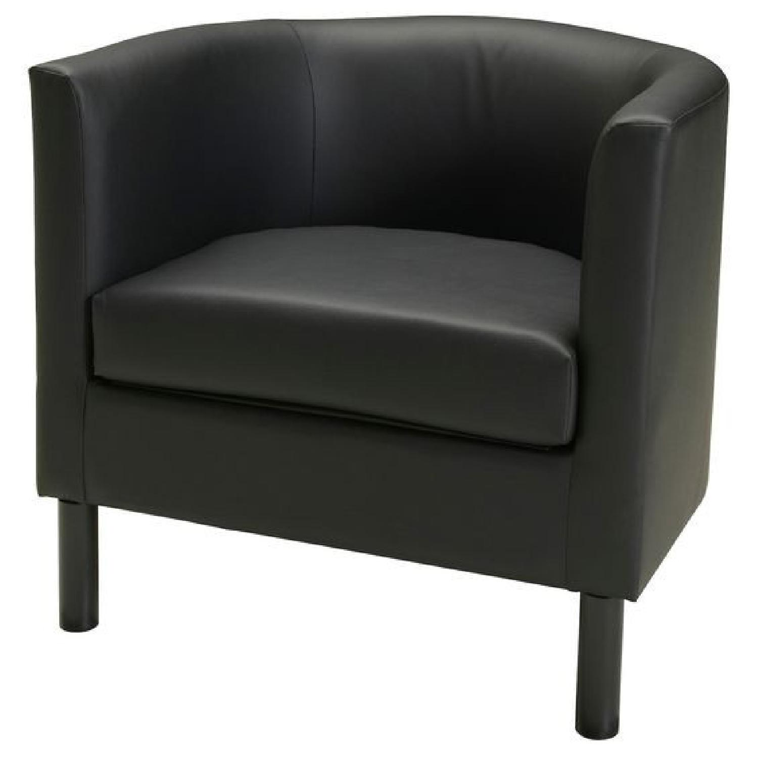 Ikea Black Faux Leather Armchairs - image-4