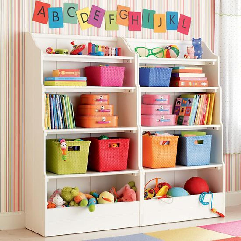 Land of Nod Tall Cottage White Kids Bookcase - image-1