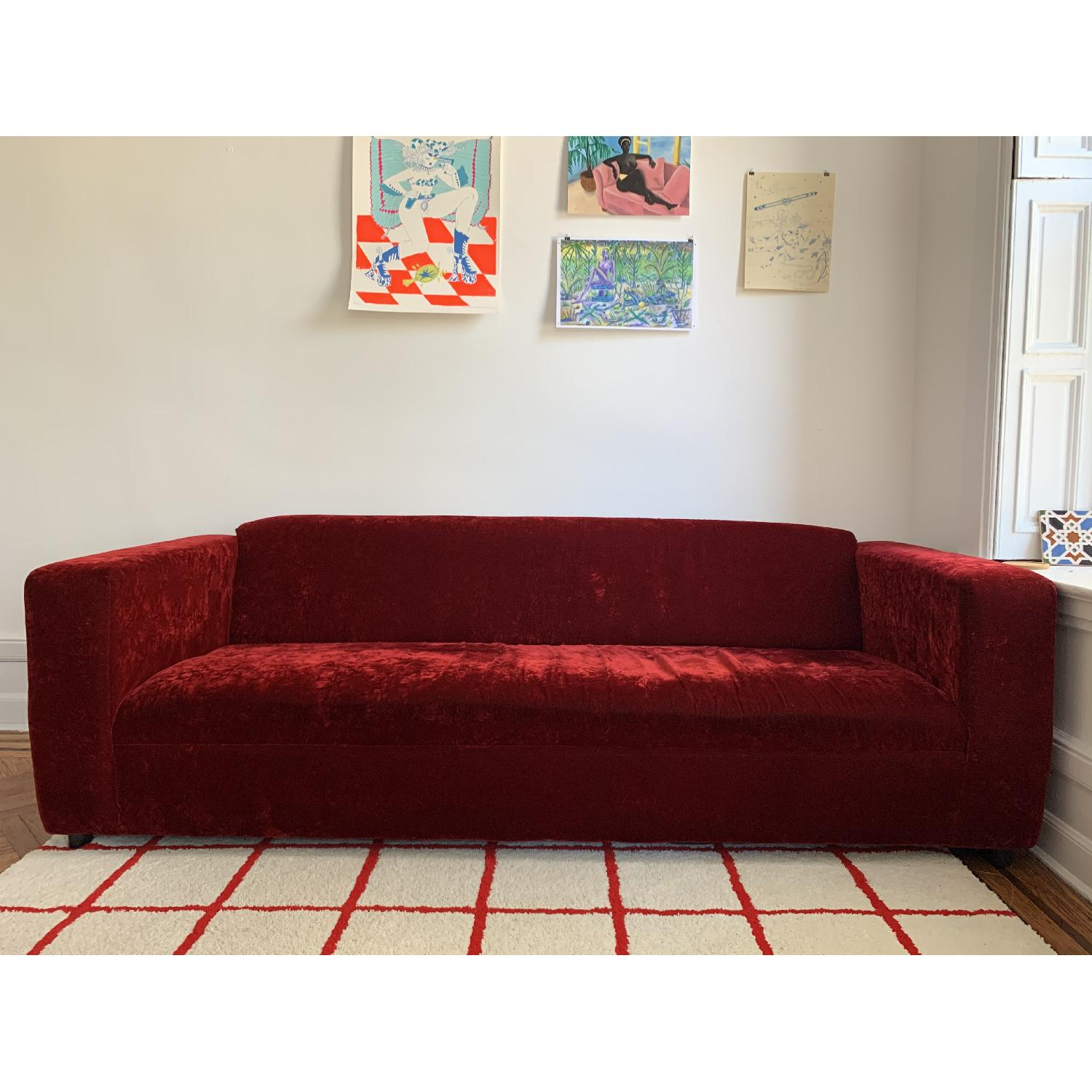 Deep Red Crushed Velvet 3 Seater Sofa - image-1