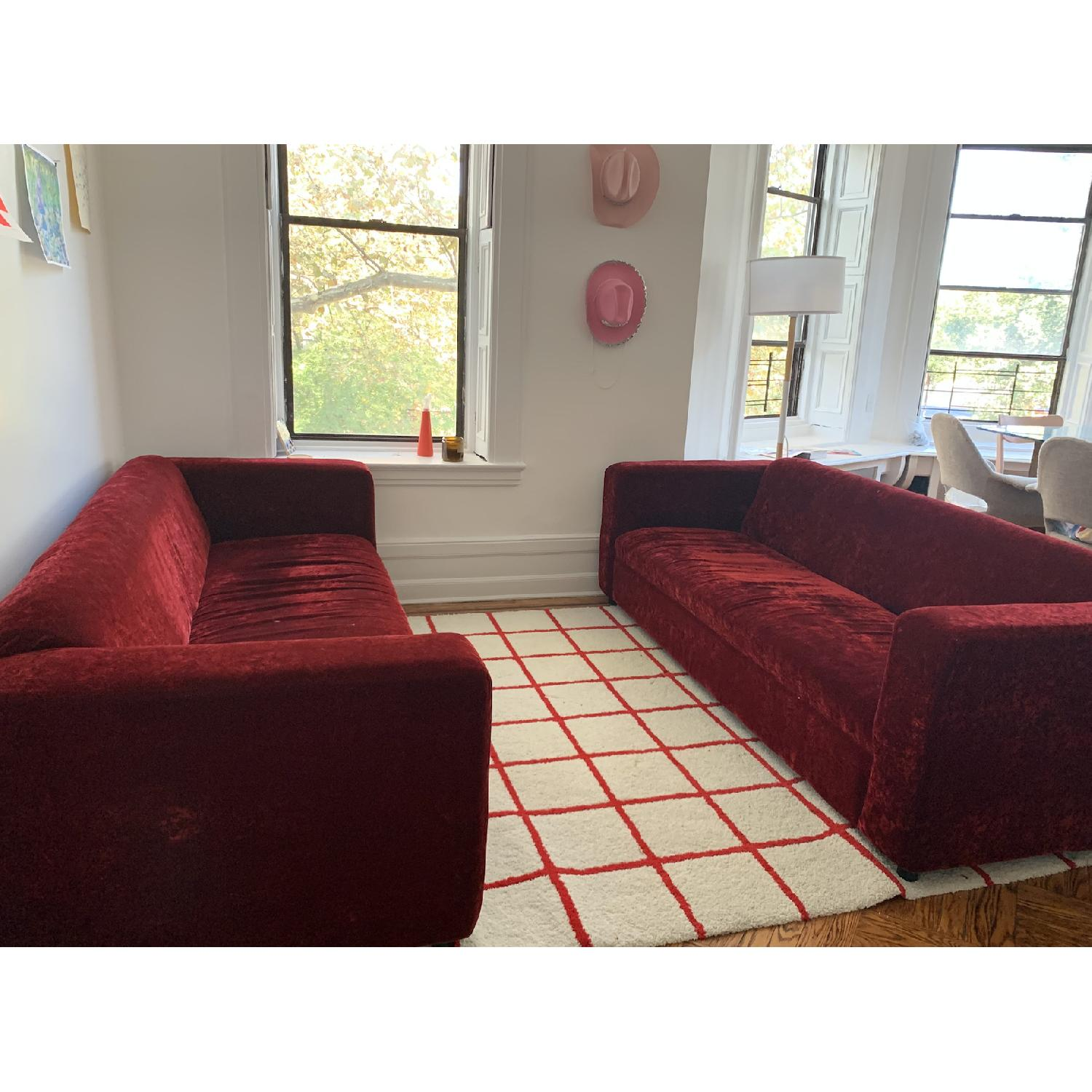 Deep Red Crushed Velvet 3 Seater Sofa - image-2