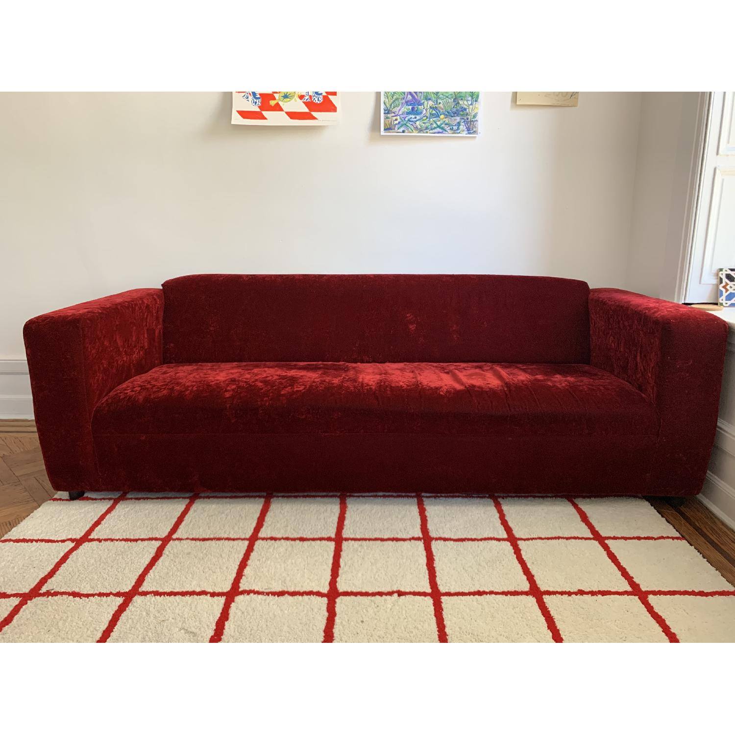 Deep Red Crushed Velvet 3 Seater Sofa - image-3