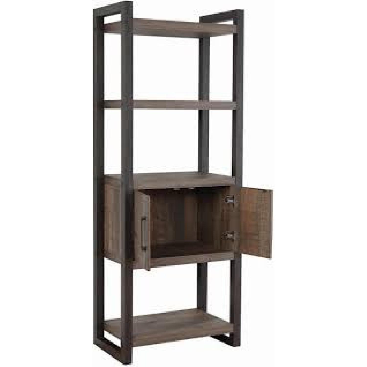 Natural Rustic Coffee Bookcase w/ Cabinet - image-1