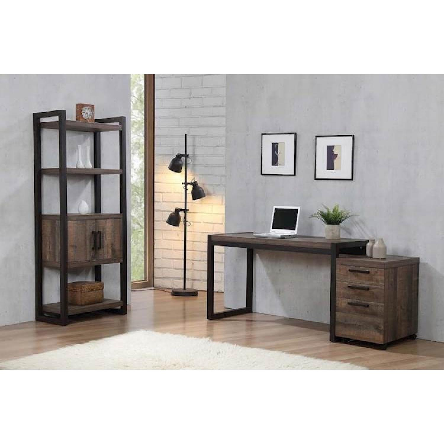 Natural Rustic Coffee Bookcase w/ Cabinet - image-3